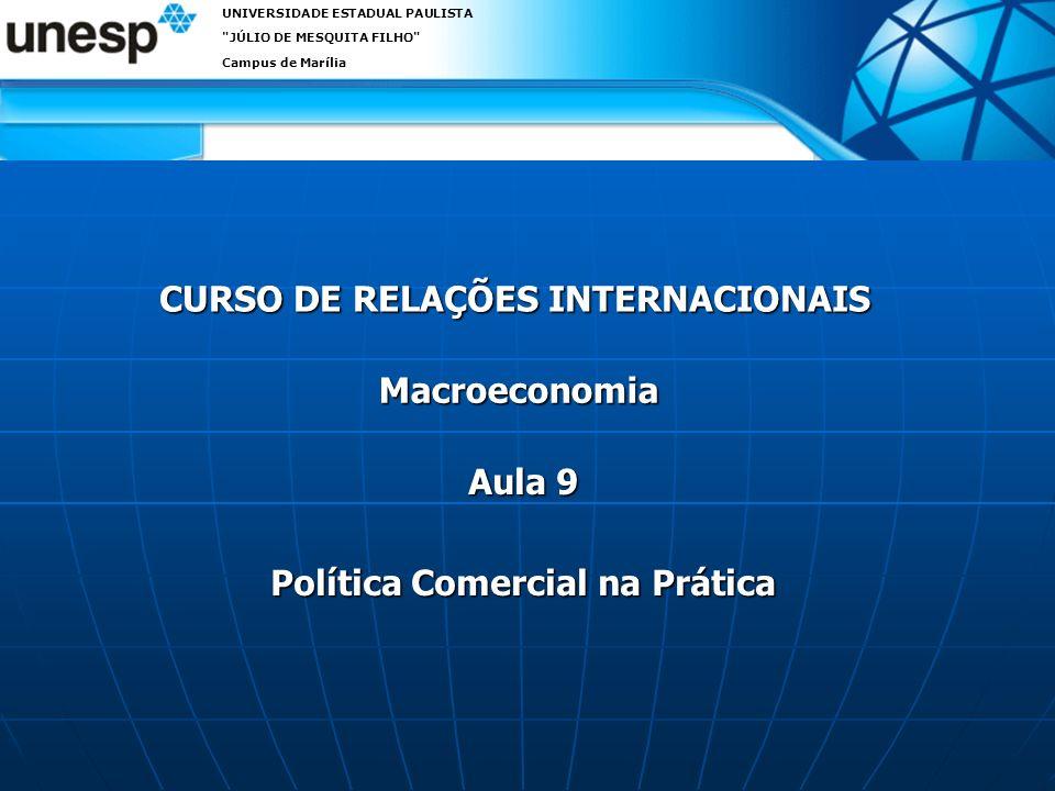CURSO DE RELAÇÕES INTERNACIONAIS UNIVERSIDADE ESTADUAL PAULISTA JÚLIO DE MESQUITA FILHO Campus de Marília Macroeconomia Aula 9 Política Comercial na Prática