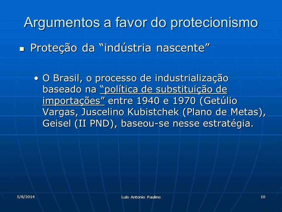 5/8/2014 Luís Antonio Paulino 10 Argumentos a favor do protecionismo Proteção da indústria nascente Proteção da indústria nascente O Brasil, o process