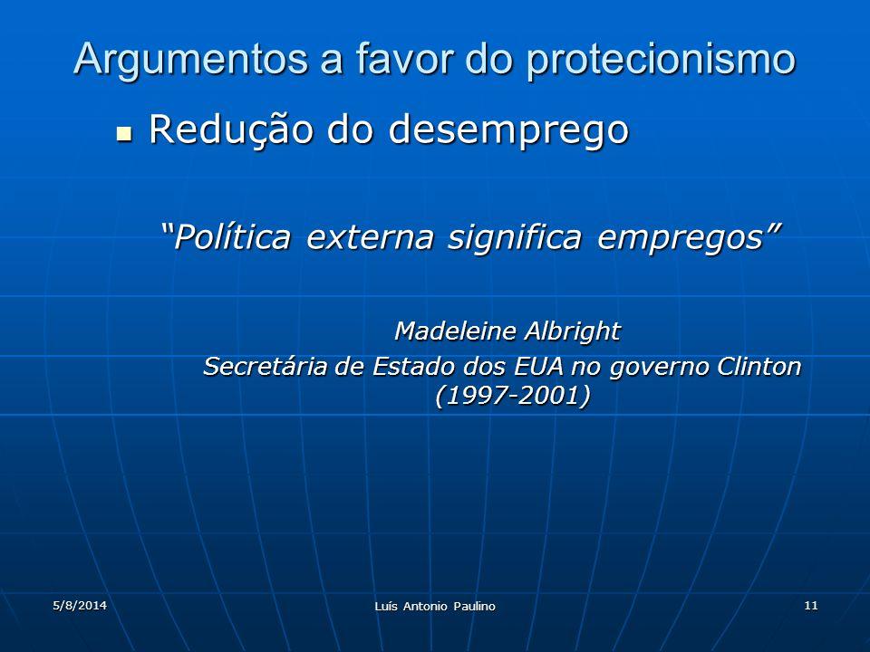5/8/2014 Luís Antonio Paulino 11 Argumentos a favor do protecionismo Redução do desemprego Redução do desemprego Política externa significa empregos Madeleine Albright Madeleine Albright Secretária de Estado dos EUA no governo Clinton (1997-2001)