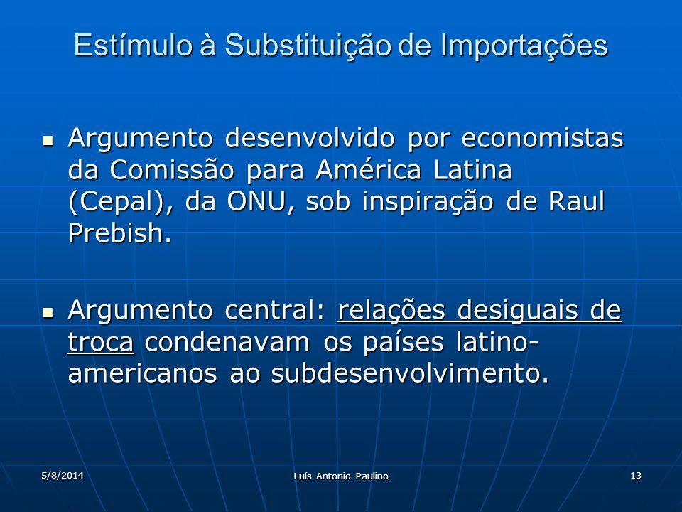 5/8/2014 Luís Antonio Paulino 13 Estímulo à Substituição de Importações Argumento desenvolvido por economistas da Comissão para América Latina (Cepal), da ONU, sob inspiração de Raul Prebish.