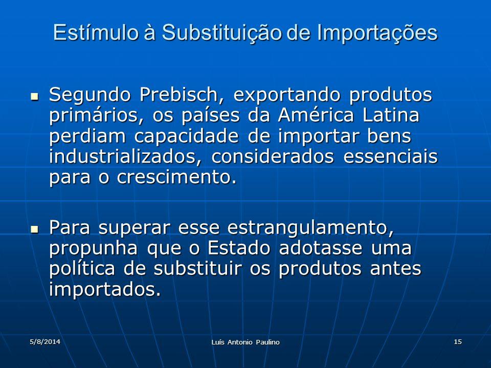 5/8/2014 Luís Antonio Paulino 15 Estímulo à Substituição de Importações Segundo Prebisch, exportando produtos primários, os países da América Latina perdiam capacidade de importar bens industrializados, considerados essenciais para o crescimento.