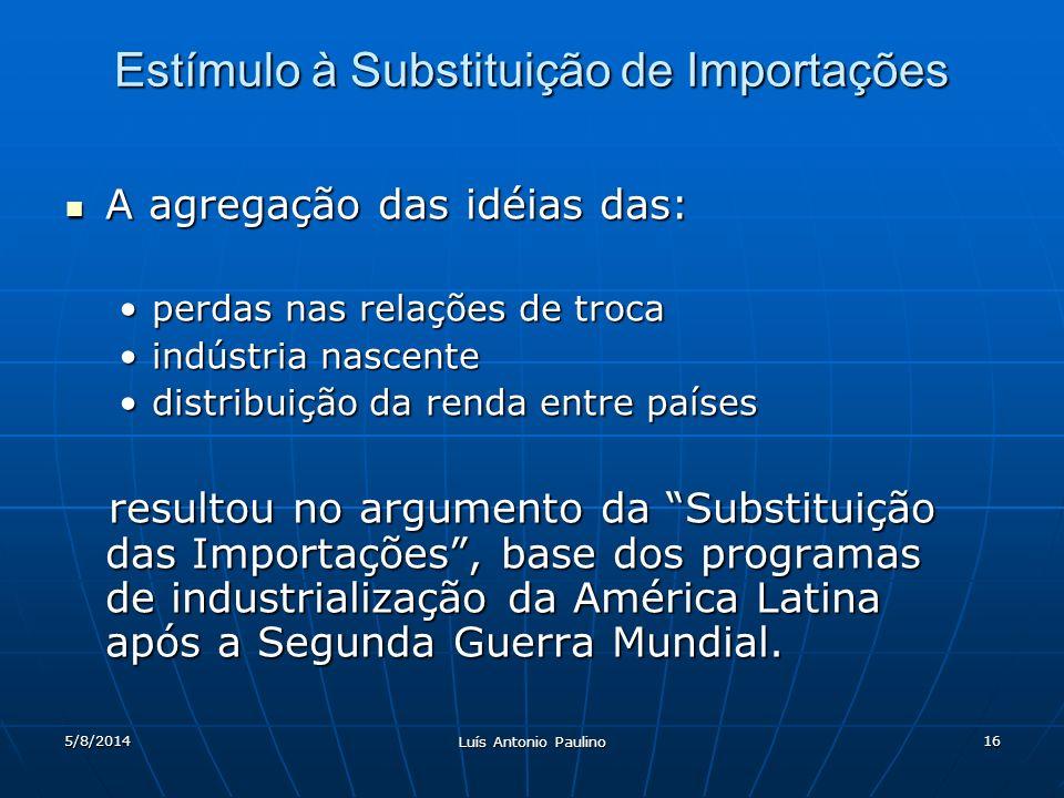 5/8/2014 Luís Antonio Paulino 16 Estímulo à Substituição de Importações A agregação das idéias das: A agregação das idéias das: perdas nas relações de