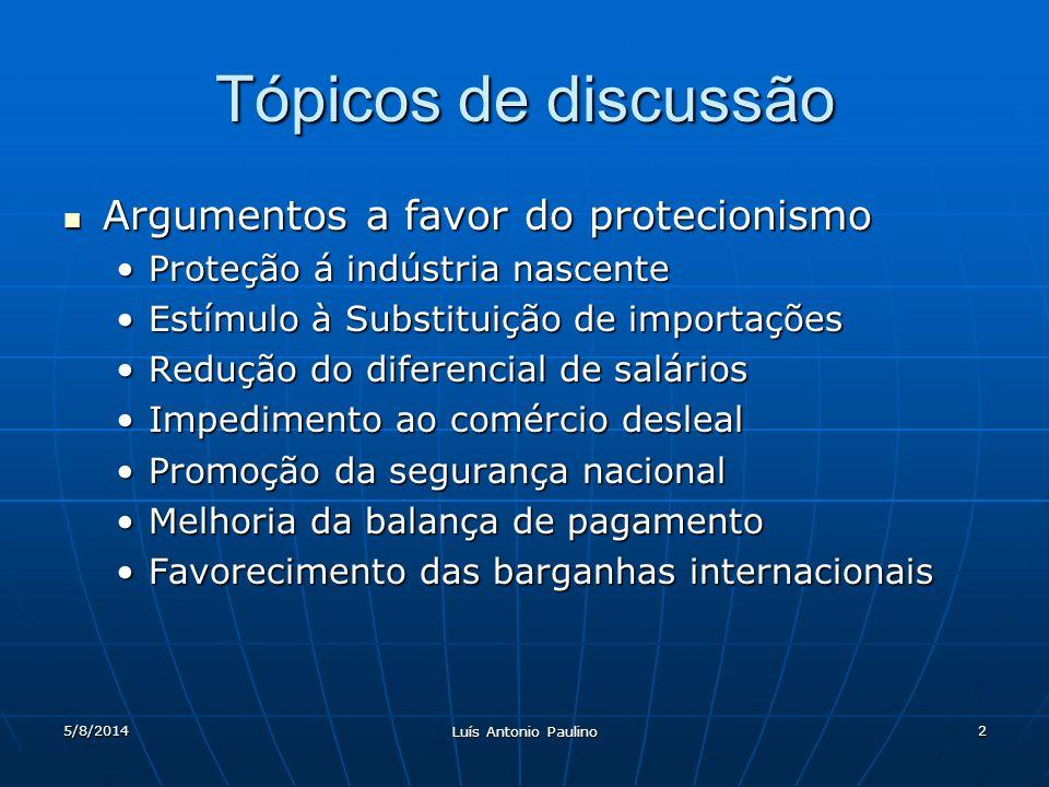 5/8/2014 Luís Antonio Paulino 2 Tópicos de discussão Argumentos a favor do protecionismo Argumentos a favor do protecionismo Proteção á indústria nasc