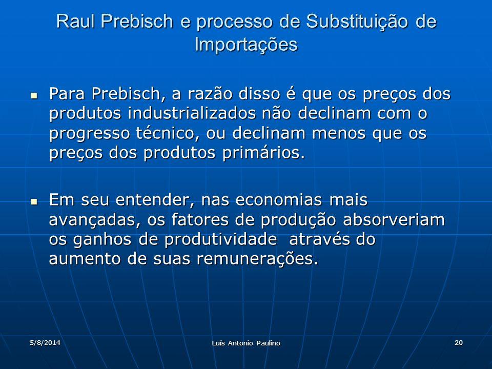5/8/2014 Luís Antonio Paulino 20 Raul Prebisch e processo de Substituição de Importações Para Prebisch, a razão disso é que os preços dos produtos industrializados não declinam com o progresso técnico, ou declinam menos que os preços dos produtos primários.