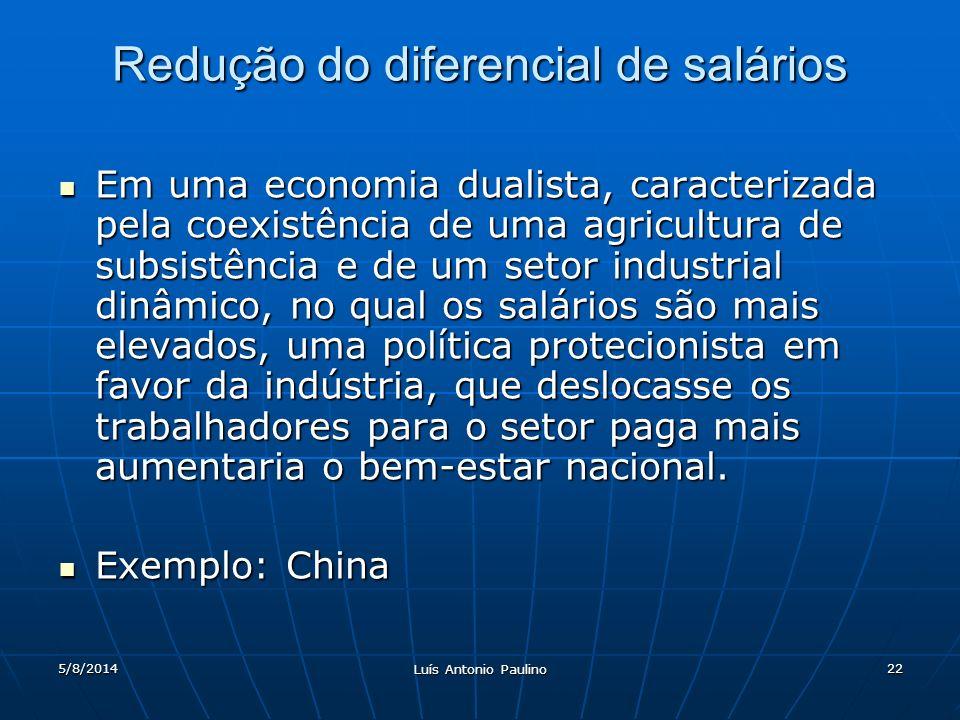5/8/2014 Luís Antonio Paulino 22 Redução do diferencial de salários Em uma economia dualista, caracterizada pela coexistência de uma agricultura de su