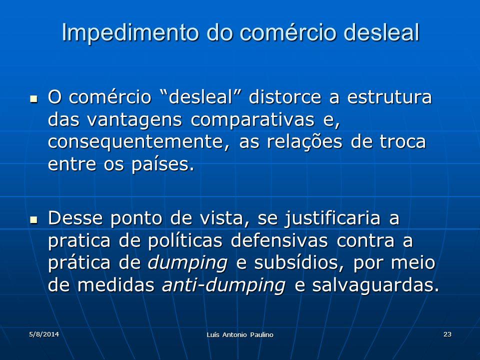5/8/2014 Luís Antonio Paulino 23 Impedimento do comércio desleal O comércio desleal distorce a estrutura das vantagens comparativas e, consequentemente, as relações de troca entre os países.