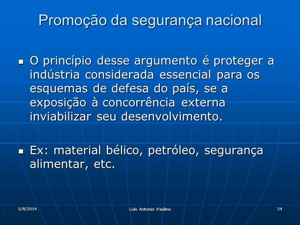 5/8/2014 Luís Antonio Paulino 24 Promoção da segurança nacional O princípio desse argumento é proteger a indústria considerada essencial para os esquemas de defesa do país, se a exposição à concorrência externa inviabilizar seu desenvolvimento.