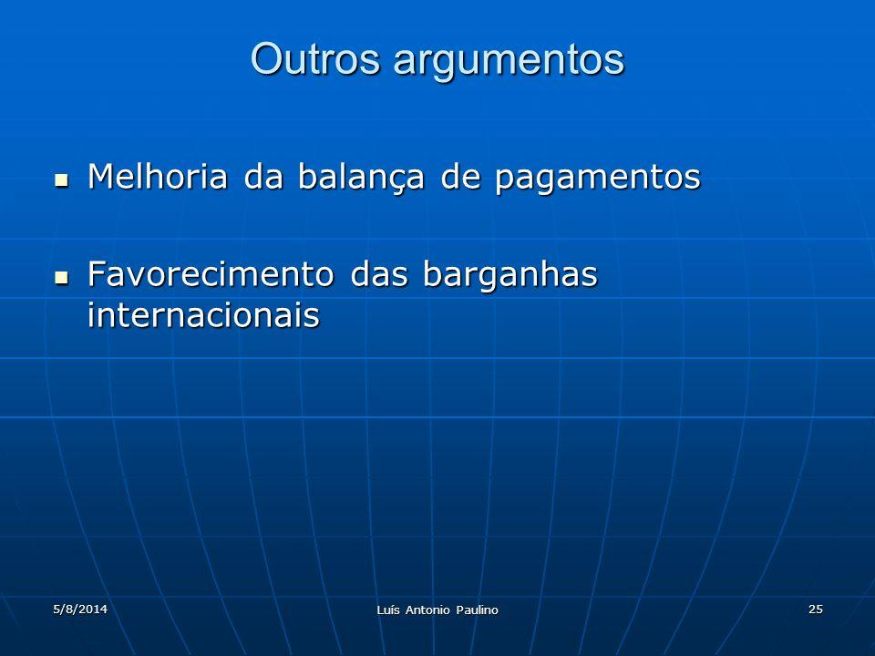 5/8/2014 Luís Antonio Paulino 25 Outros argumentos Melhoria da balança de pagamentos Melhoria da balança de pagamentos Favorecimento das barganhas internacionais Favorecimento das barganhas internacionais