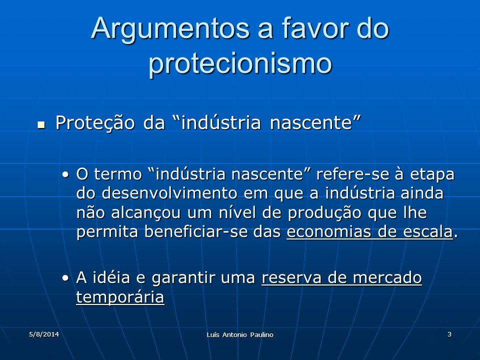 5/8/2014 Luís Antonio Paulino 3 Argumentos a favor do protecionismo Proteção da indústria nascente Proteção da indústria nascente O termo indústria na