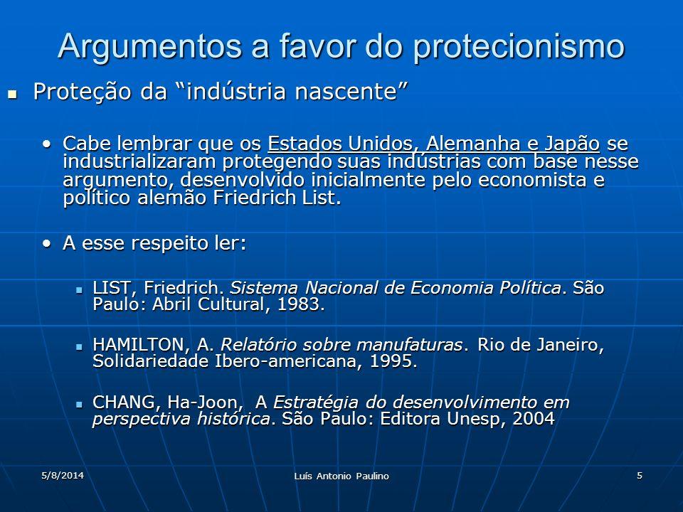 5/8/2014 Luís Antonio Paulino 5 Argumentos a favor do protecionismo Proteção da indústria nascente Proteção da indústria nascente Cabe lembrar que os