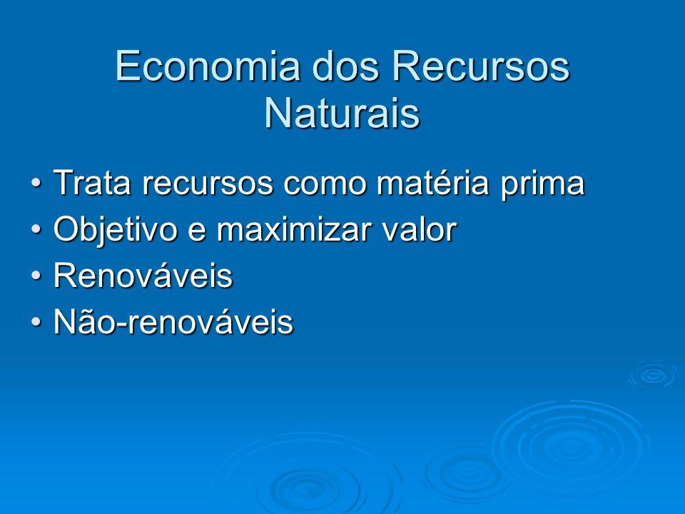 Economia dos Recursos Naturais Trata recursos como matéria primaTrata recursos como matéria prima Objetivo e maximizar valorObjetivo e maximizar valor