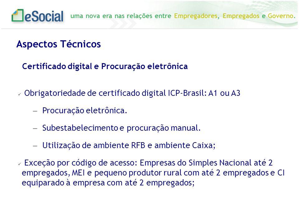 uma nova era nas relações entre Empregadores, Empregados e Governo. Obrigatoriedade de certificado digital ICP-Brasil: A1 ou A3 – Procuração eletrônic