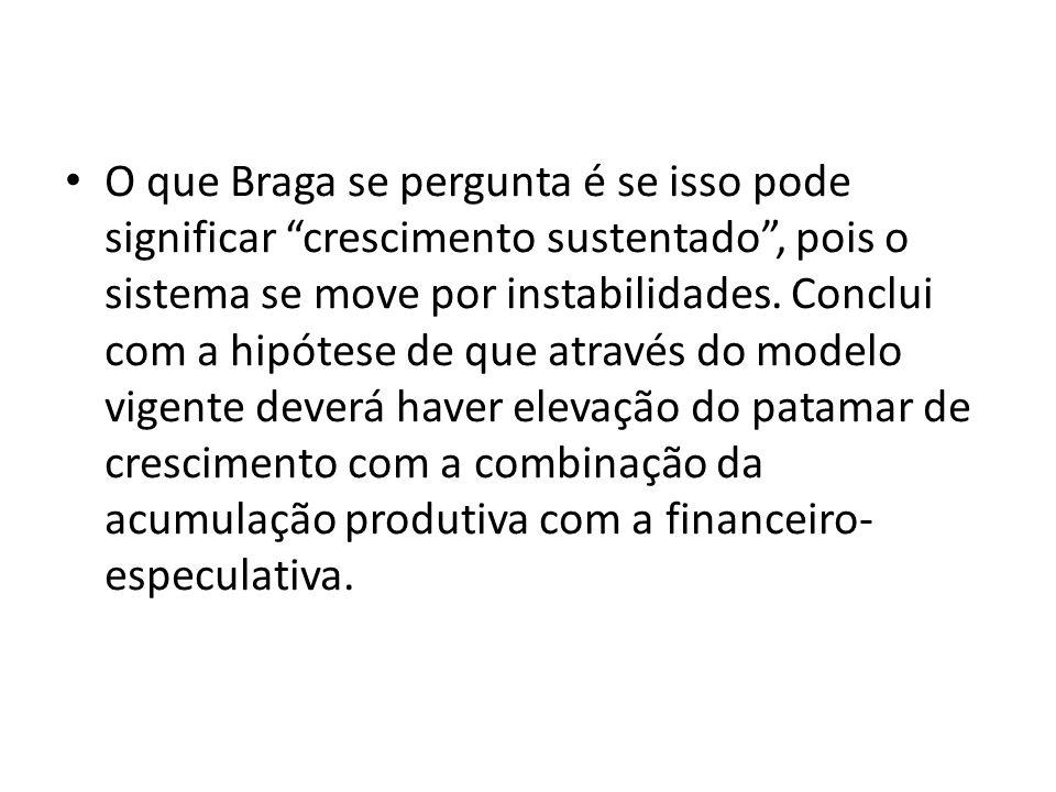 O que Braga se pergunta é se isso pode significar crescimento sustentado, pois o sistema se move por instabilidades. Conclui com a hipótese de que atr