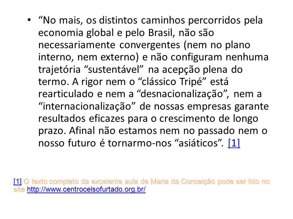 No mais, os distintos caminhos percorridos pela economia global e pelo Brasil, não são necessariamente convergentes (nem no plano interno, nem externo