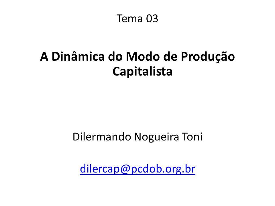 Tema 03 A Dinâmica do Modo de Produção Capitalista Dilermando Nogueira Toni dilercap@pcdob.org.br