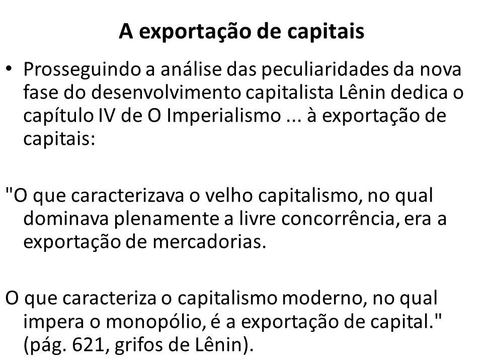 A exportação de capitais Prosseguindo a análise das peculiaridades da nova fase do desenvolvimento capitalista Lênin dedica o capítulo IV de O Imperia