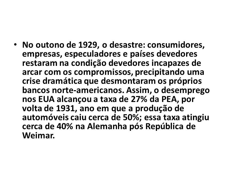 No outono de 1929, o desastre: consumidores, empresas, especuladores e países devedores restaram na condição devedores incapazes de arcar com os compr