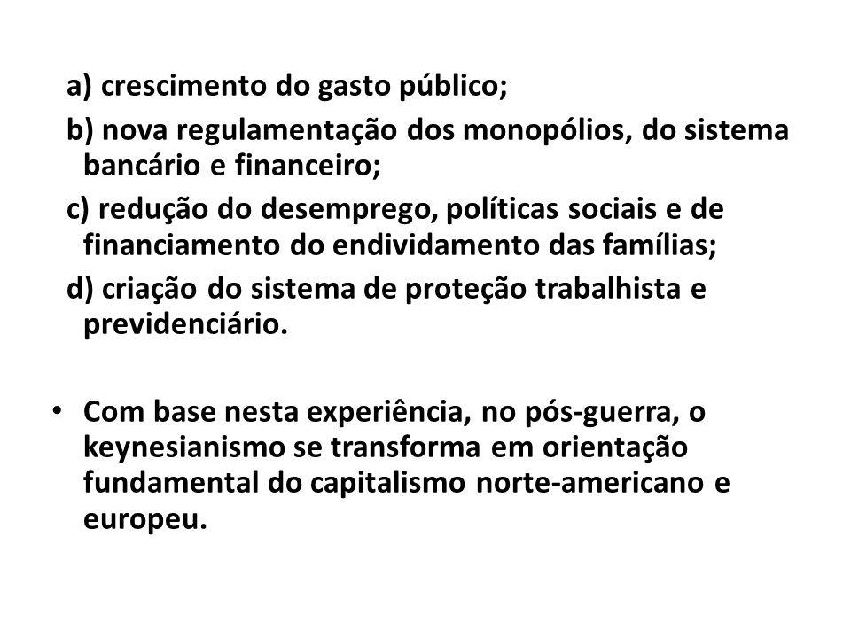 a) crescimento do gasto público; b) nova regulamentação dos monopólios, do sistema bancário e financeiro; c) redução do desemprego, políticas sociais