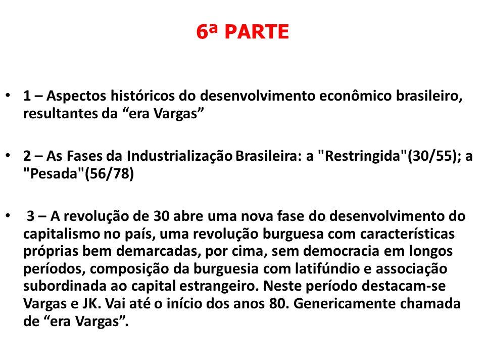 6ª PARTE 1 – Aspectos históricos do desenvolvimento econômico brasileiro, resultantes da era Vargas 2 – As Fases da Industrialização Brasileira: a