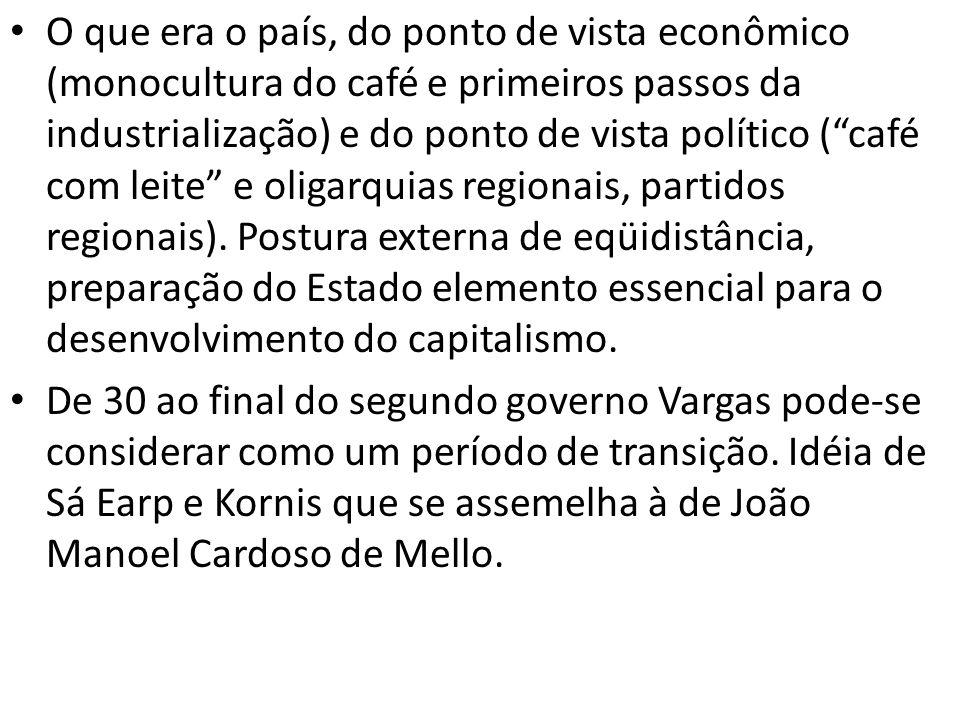 O que era o país, do ponto de vista econômico (monocultura do café e primeiros passos da industrialização) e do ponto de vista político (café com leit