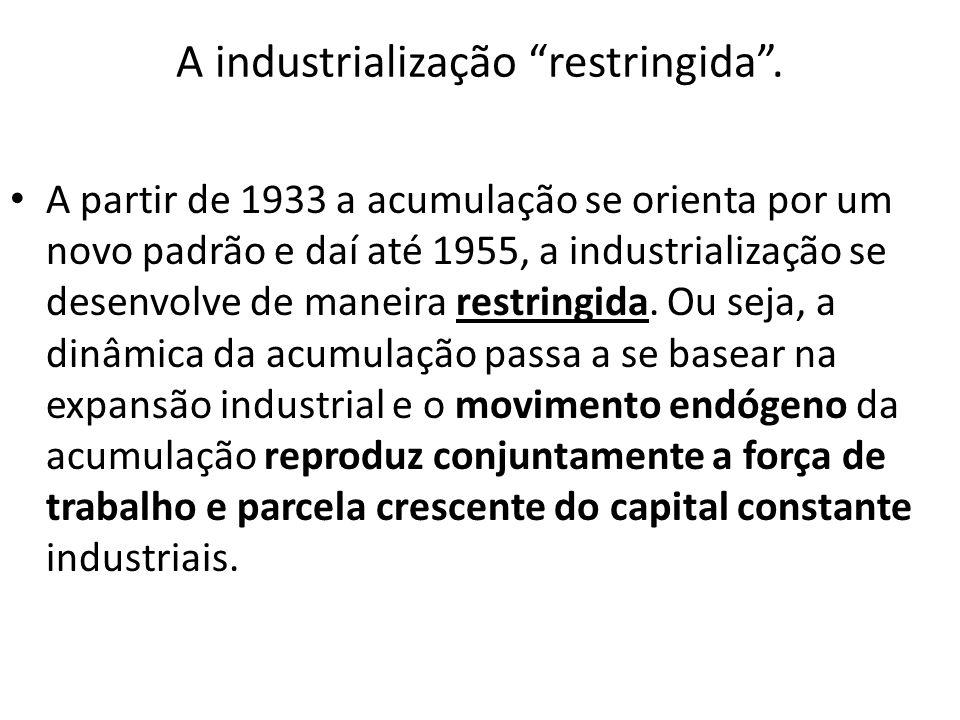 A industrialização restringida. A partir de 1933 a acumulação se orienta por um novo padrão e daí até 1955, a industrialização se desenvolve de maneir