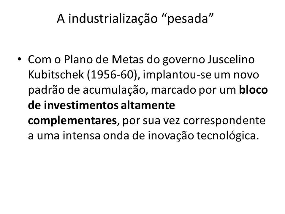 A industrialização pesada Com o Plano de Metas do governo Juscelino Kubitschek (1956-60), implantou-se um novo padrão de acumulação, marcado por um bl