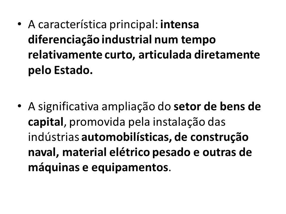 A característica principal: intensa diferenciação industrial num tempo relativamente curto, articulada diretamente pelo Estado. A significativa amplia
