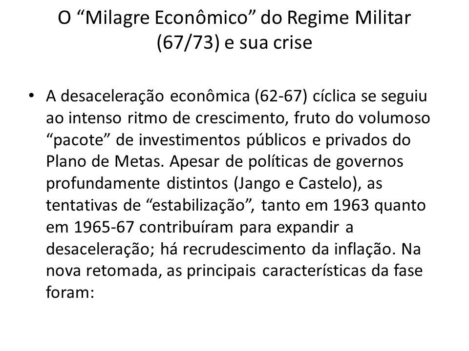 O Milagre Econômico do Regime Militar (67/73) e sua crise A desaceleração econômica (62-67) cíclica se seguiu ao intenso ritmo de crescimento, fruto d