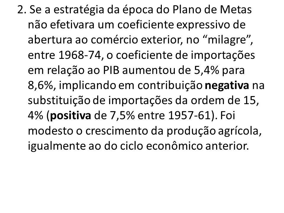 2. Se a estratégia da época do Plano de Metas não efetivara um coeficiente expressivo de abertura ao comércio exterior, no milagre, entre 1968-74, o c