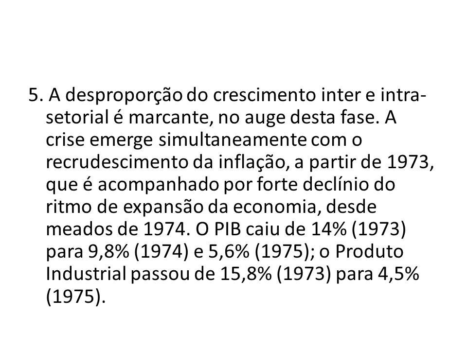 5. A desproporção do crescimento inter e intra- setorial é marcante, no auge desta fase. A crise emerge simultaneamente com o recrudescimento da infla