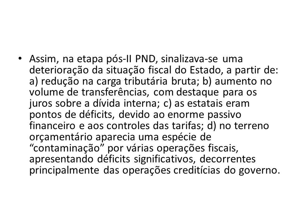 Assim, na etapa pós-II PND, sinalizava-se uma deterioração da situação fiscal do Estado, a partir de: a) redução na carga tributária bruta; b) aumento