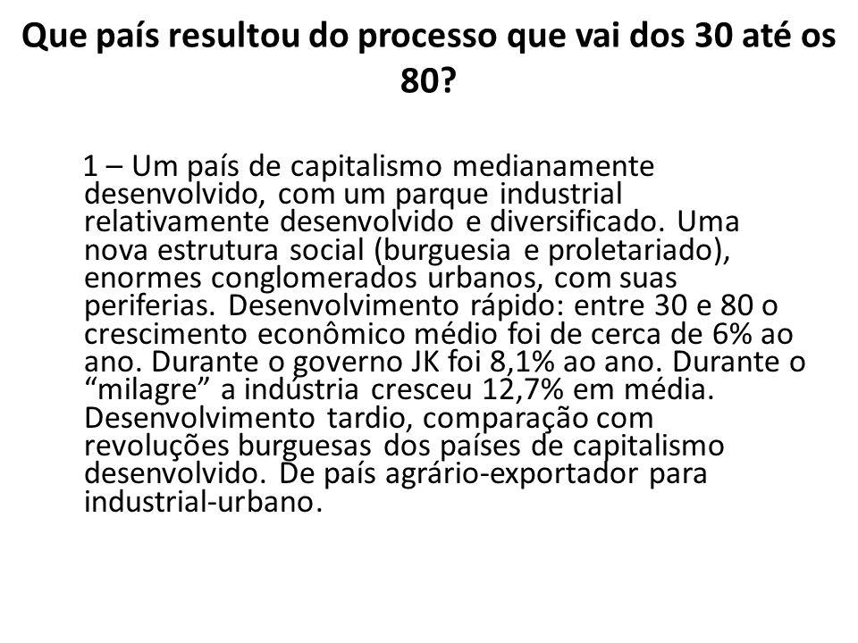 Que país resultou do processo que vai dos 30 até os 80? 1 – Um país de capitalismo medianamente desenvolvido, com um parque industrial relativamente d