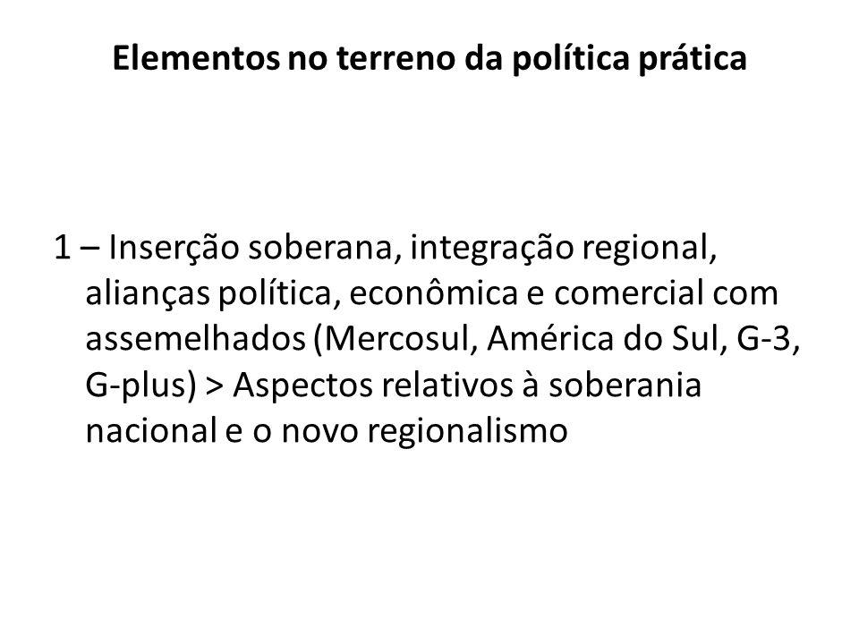 Elementos no terreno da política prática 1 – Inserção soberana, integração regional, alianças política, econômica e comercial com assemelhados (Mercos