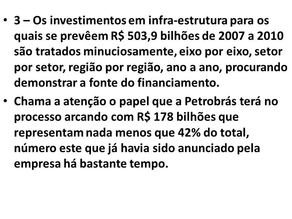 3 – Os investimentos em infra-estrutura para os quais se prevêem R$ 503,9 bilhões de 2007 a 2010 são tratados minuciosamente, eixo por eixo, setor por