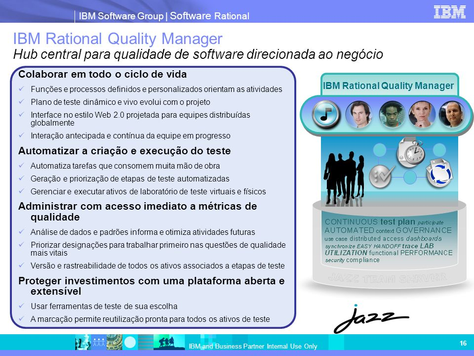 IBM Software Group | Software Rational IBM and Business Partner Internal Use Only 16 IBM Rational Quality Manager Hub central para qualidade de softwa