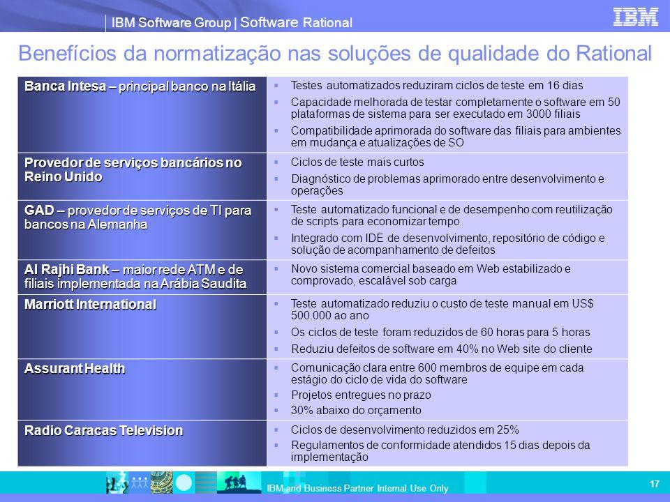 IBM Software Group   Software Rational IBM and Business Partner Internal Use Only 17 Benefícios da normatização nas soluções de qualidade do Rational