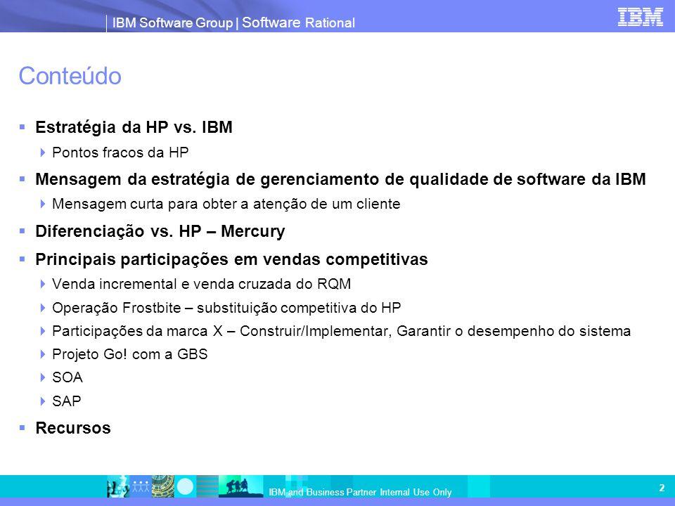 IBM Software Group   Software Rational IBM and Business Partner Internal Use Only 2 Conteúdo Estratégia da HP vs. IBM Pontos fracos da HP Mensagem da
