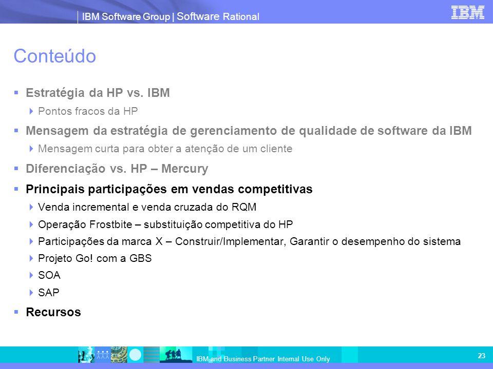 IBM Software Group   Software Rational IBM and Business Partner Internal Use Only 23 Conteúdo Estratégia da HP vs. IBM Pontos fracos da HP Mensagem da