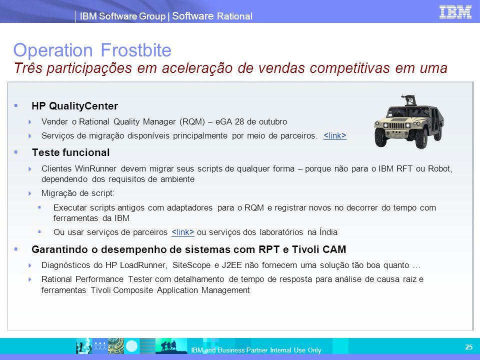 IBM Software Group | Software Rational IBM and Business Partner Internal Use Only 25 Operation Frostbite Três participações em aceleração de vendas competitivas em uma HP QualityCenter Vender o Rational Quality Manager (RQM) – eGA 28 de outubro Serviços de migração disponíveis principalmente por meio de parceiros.