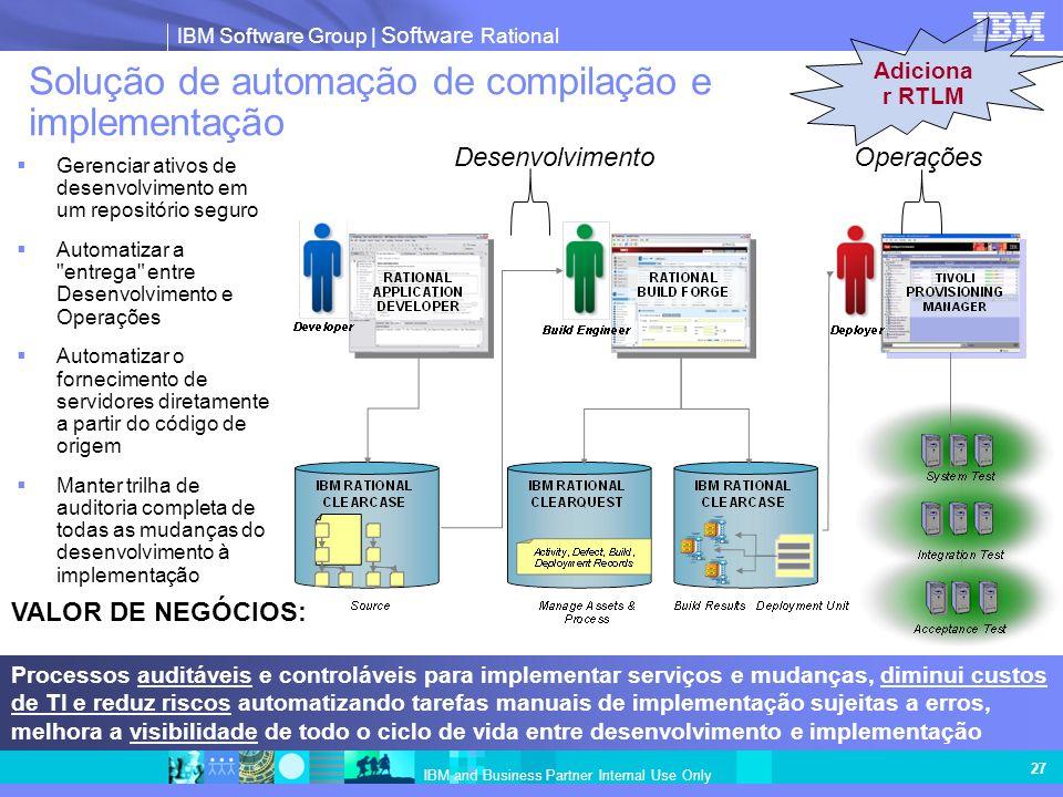 IBM Software Group   Software Rational IBM and Business Partner Internal Use Only Gerenciar ativos de desenvolvimento em um repositório seguro Automat
