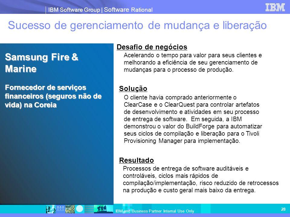 IBM Software Group | Software Rational IBM and Business Partner Internal Use Only 28 Sucesso de gerenciamento de mudança e liberação Acelerando o temp