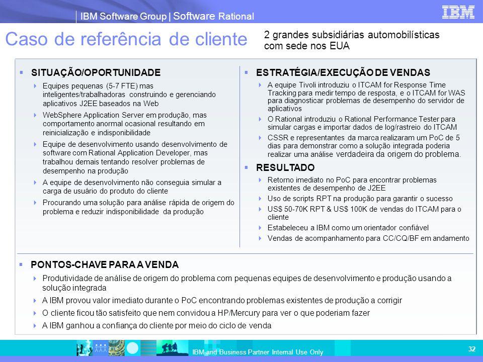 IBM Software Group | Software Rational IBM and Business Partner Internal Use Only 32 Caso de referência de cliente SITUAÇÃO/OPORTUNIDADE Equipes peque