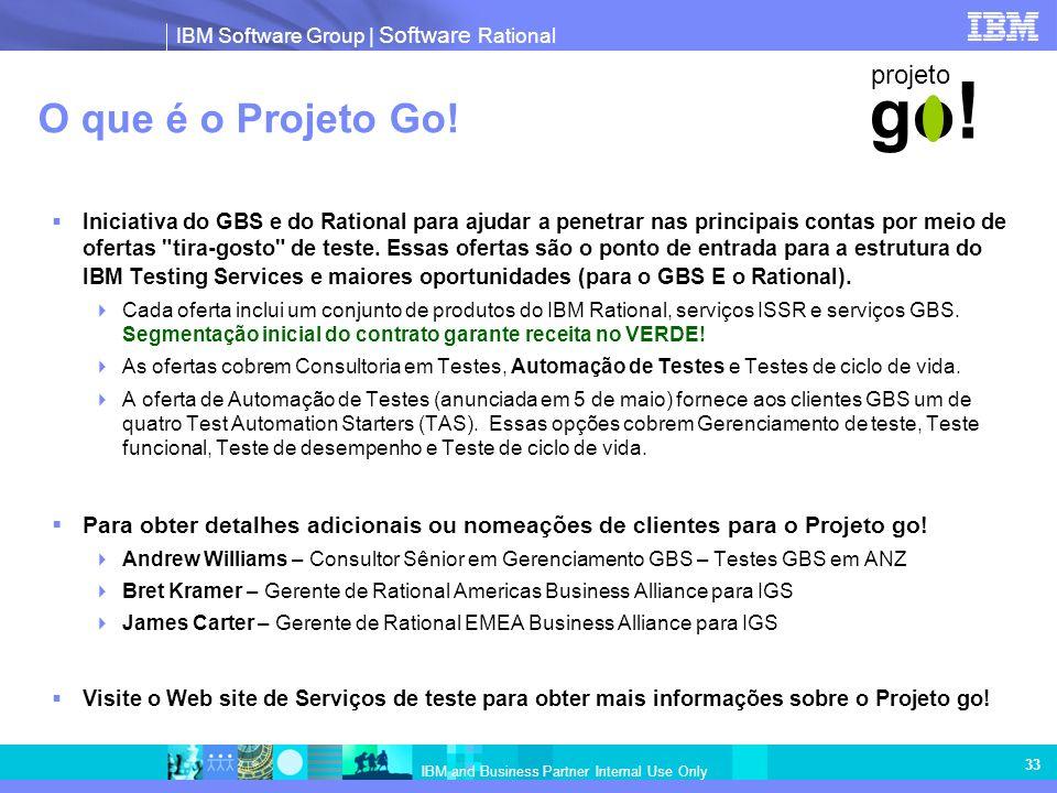 IBM Software Group   Software Rational IBM and Business Partner Internal Use Only 33 O que é o Projeto Go! Iniciativa do GBS e do Rational para ajudar