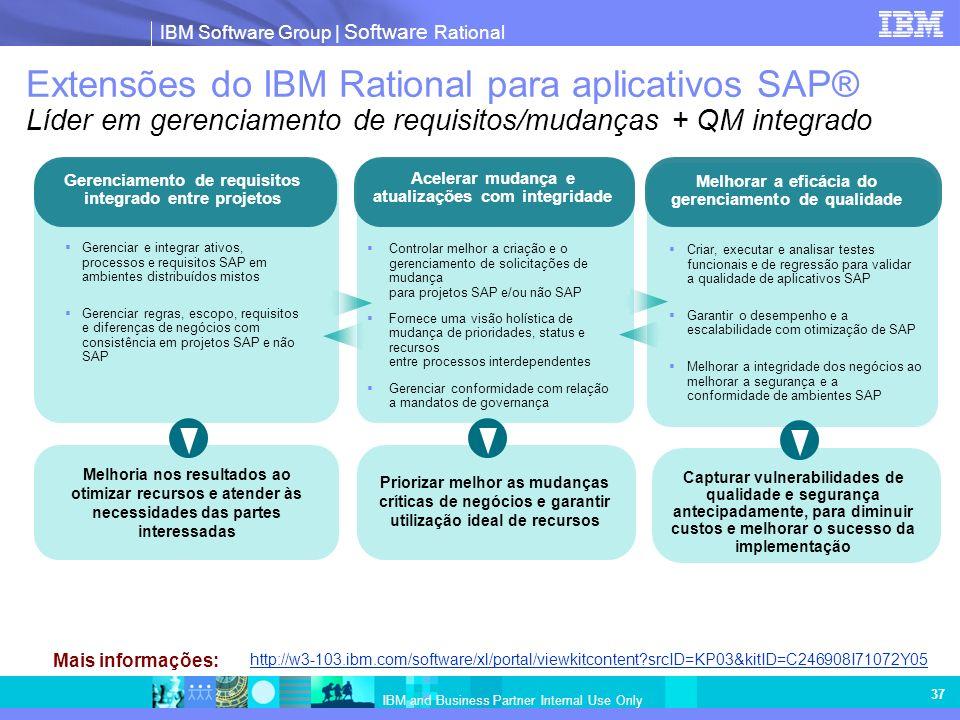 IBM Software Group | Software Rational IBM and Business Partner Internal Use Only 37 Extensões do IBM Rational para aplicativos SAP® Líder em gerenciamento de requisitos/mudanças + QM integrado Gerenciar e integrar ativos, processos e requisitos SAP em ambientes distribuídos mistos Gerenciar regras, escopo, requisitos e diferenças de negócios com consistência em projetos SAP e não SAP Gerenciamento de requisitos integrado entre projetos Melhoria nos resultados ao otimizar recursos e atender às necessidades das partes interessadas Priorizar melhor as mudanças críticas de negócios e garantir utilização ideal de recursos Controlar melhor a criação e o gerenciamento de solicitações de mudança para projetos SAP e/ou não SAP Fornece uma visão holística de mudança de prioridades, status e recursos entre processos interdependentes Gerenciar conformidade com relação a mandatos de governança Acelerar mudança e atualizações com integridade Capturar vulnerabilidades de qualidade e segurança antecipadamente, para diminuir custos e melhorar o sucesso da implementação Criar, executar e analisar testes funcionais e de regressão para validar a qualidade de aplicativos SAP Garantir o desempenho e a escalabilidade com otimização de SAP Melhorar a integridade dos negócios ao melhorar a segurança e a conformidade de ambientes SAP Melhorar a eficácia do gerenciamento de qualidade http://w3-103.ibm.com/software/xl/portal/viewkitcontent?srcID=KP03&kitID=C246908I71072Y05 Mais informações:
