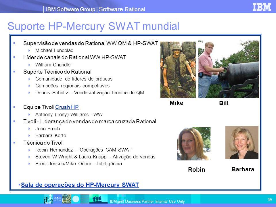 IBM Software Group | Software Rational IBM and Business Partner Internal Use Only 39 Suporte HP-Mercury SWAT mundial Supervisão de vendas do Rational