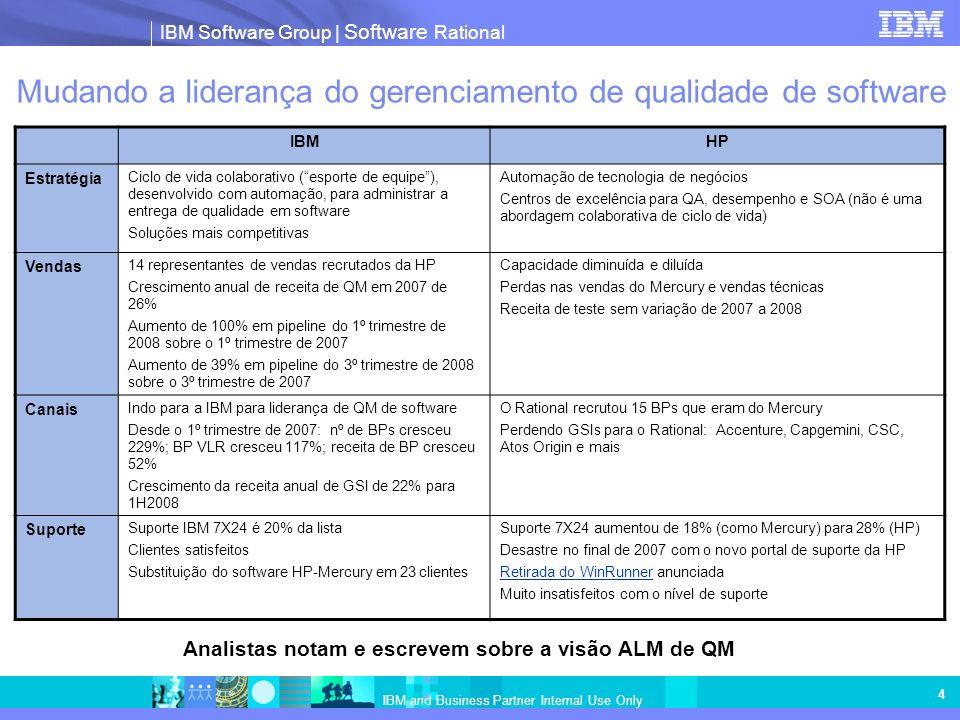 IBM Software Group | Software Rational IBM and Business Partner Internal Use Only 4 Mudando a liderança do gerenciamento de qualidade de software IBMHP Estratégia Ciclo de vida colaborativo (esporte de equipe), desenvolvido com automação, para administrar a entrega de qualidade em software Soluções mais competitivas Automação de tecnologia de negócios Centros de excelência para QA, desempenho e SOA (não é uma abordagem colaborativa de ciclo de vida) Vendas 14 representantes de vendas recrutados da HP Crescimento anual de receita de QM em 2007 de 26% Aumento de 100% em pipeline do 1º trimestre de 2008 sobre o 1º trimestre de 2007 Aumento de 39% em pipeline do 3º trimestre de 2008 sobre o 3º trimestre de 2007 Capacidade diminuída e diluída Perdas nas vendas do Mercury e vendas técnicas Receita de teste sem variação de 2007 a 2008 Canais Indo para a IBM para liderança de QM de software Desde o 1º trimestre de 2007: nº de BPs cresceu 229%; BP VLR cresceu 117%; receita de BP cresceu 52% Crescimento da receita anual de GSI de 22% para 1H2008 O Rational recrutou 15 BPs que eram do Mercury Perdendo GSIs para o Rational: Accenture, Capgemini, CSC, Atos Origin e mais Suporte Suporte IBM 7X24 é 20% da lista Clientes satisfeitos Substituição do software HP-Mercury em 23 clientes Suporte 7X24 aumentou de 18% (como Mercury) para 28% (HP) Desastre no final de 2007 com o novo portal de suporte da HP Retirada do WinRunnerRetirada do WinRunner anunciada Muito insatisfeitos com o nível de suporte Analistas notam e escrevem sobre a visão ALM de QM