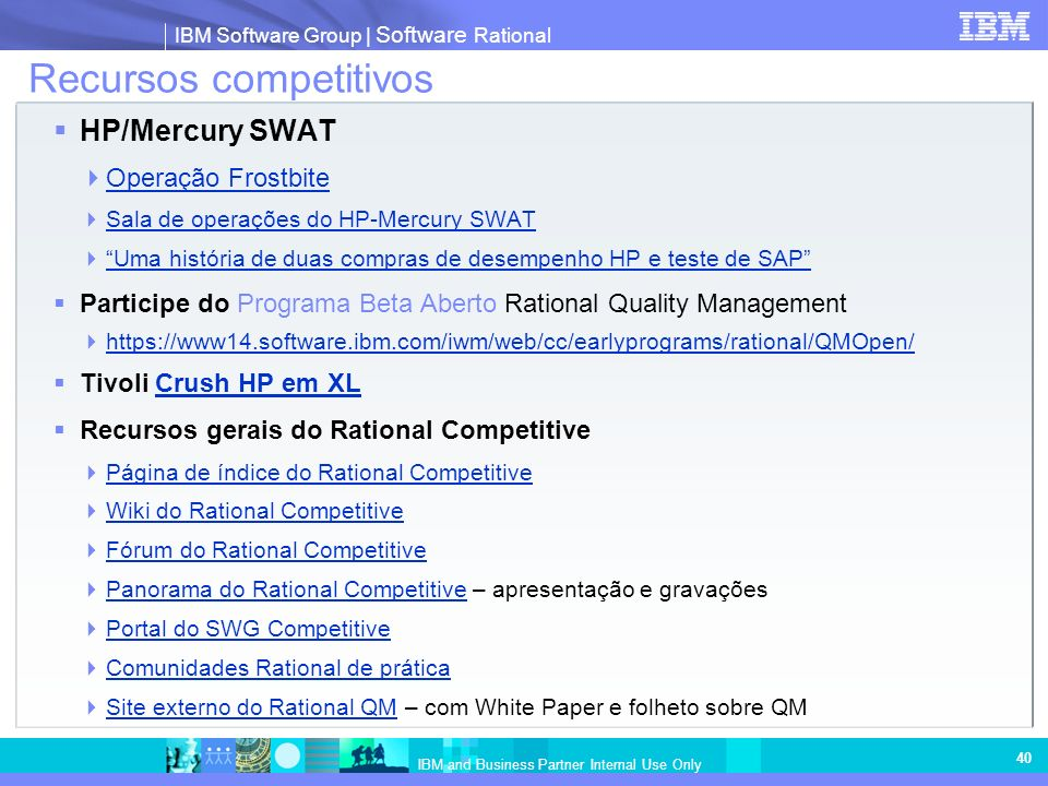 IBM Software Group   Software Rational IBM and Business Partner Internal Use Only 40 Recursos competitivos HP/Mercury SWAT Operação Frostbite Sala de