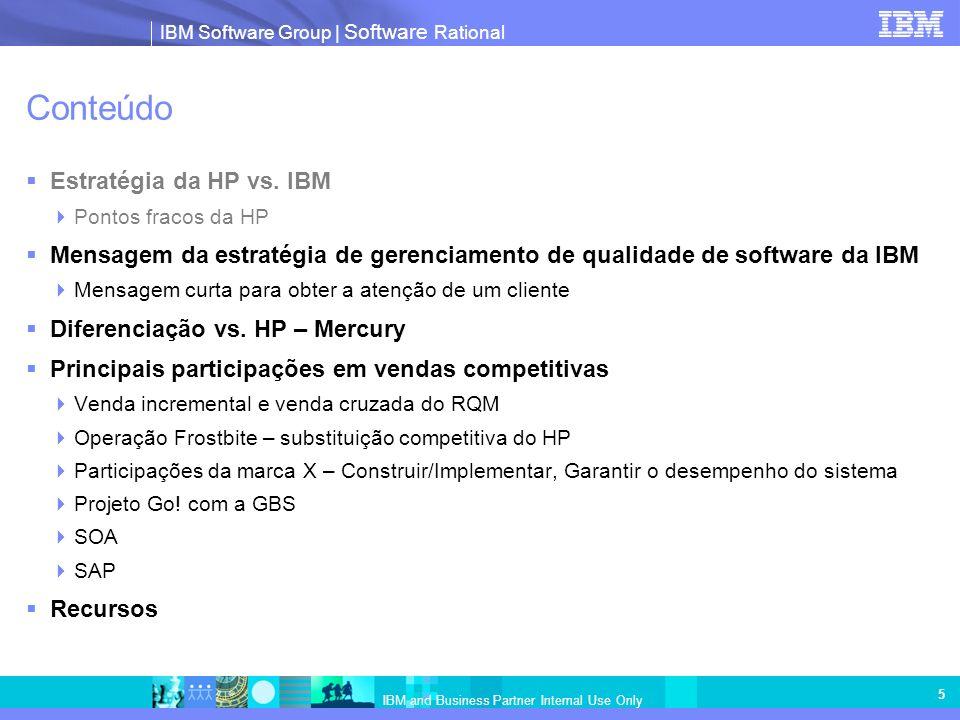 IBM Software Group   Software Rational IBM and Business Partner Internal Use Only 5 Conteúdo Estratégia da HP vs. IBM Pontos fracos da HP Mensagem da