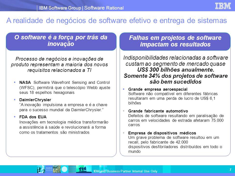 IBM Software Group | Software Rational IBM and Business Partner Internal Use Only 7 Falhas em projetos de software impactam os resultados O software é
