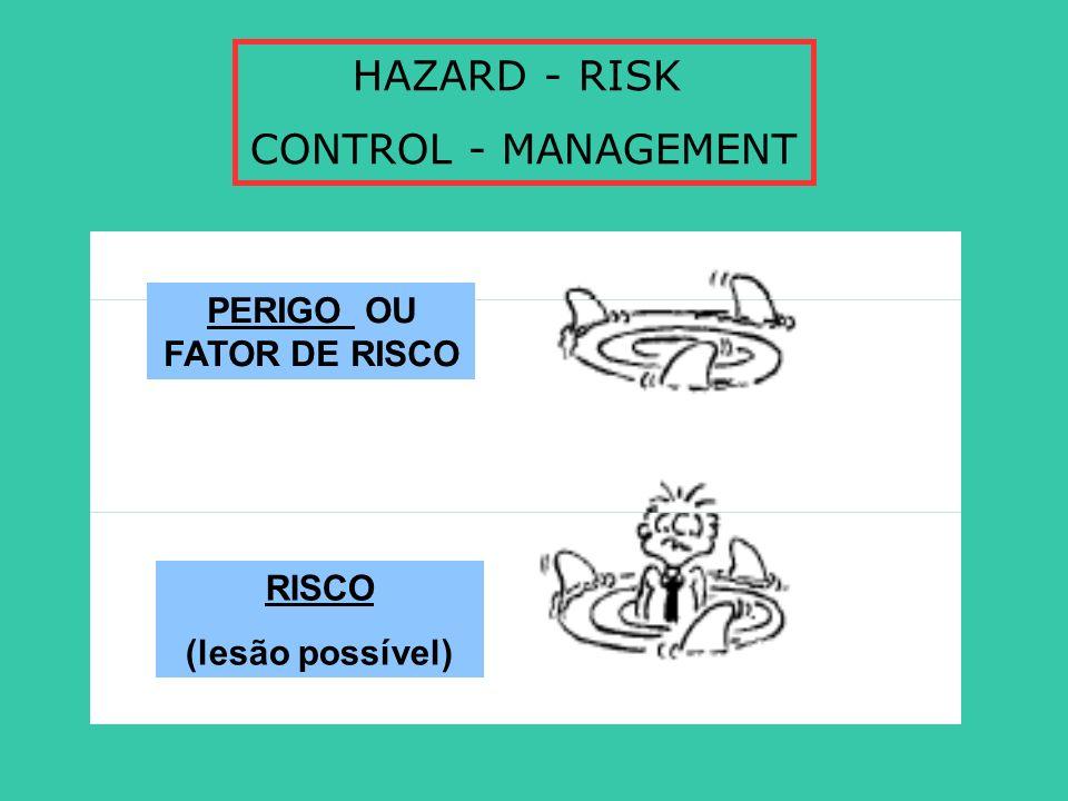 HAZARD - RISK CONTROL - MANAGEMENT PERIGO OU FATOR DE RISCO RISCO (lesão possível)